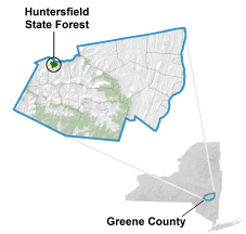 Huntersfield State Forest locator map