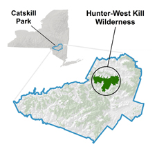 image showing location of Hunter-West Kill Wilderness Area