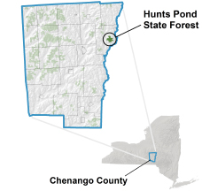 Hunts Pond State Forest locator map