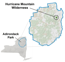 Hurricane Mountain Wilderness locator map