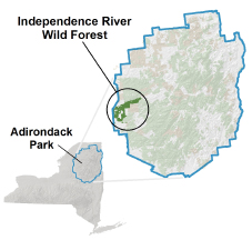 Independence River Wild Forest locator map
