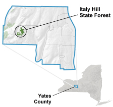 Italy Hill State Forest locator map
