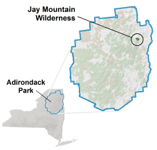 Jay Mountain Wilderness locator map