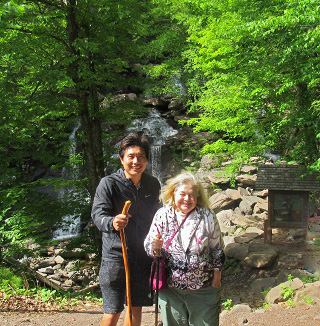 two people at the Kaaterskill Falls Trailhead