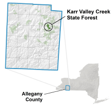 Karr Valley Creek State Forest locator map