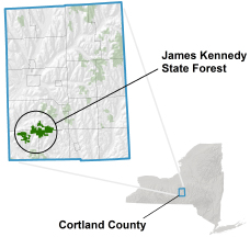 James Kennedy State Forest locator map