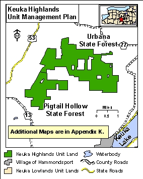 A map showing the location of the Keuka Highlands Unit Management Plan.