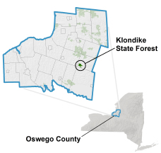 Klondike State Forest locator map