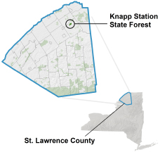 Knapp Station State Forest locator map