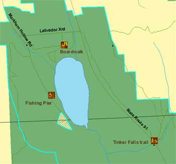 map showing accessible features on Labrador Hollow Unique Area