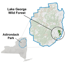 Lake George Wild Forest locator map