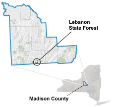 Lebanon State Forest locator map