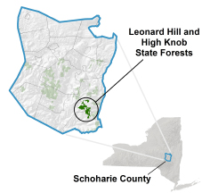 Leonard Hill/High Knob State Forests locator map
