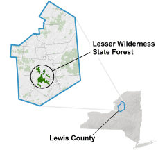 Lesser Wilderness State Forest locator map