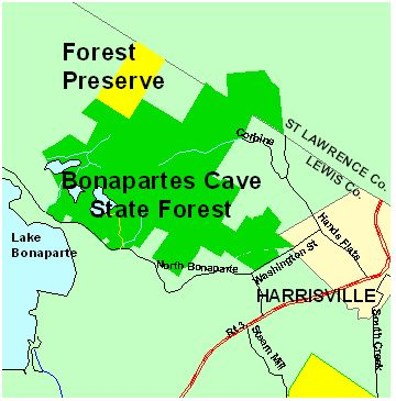 Map of Bonapartes Cave State Forest