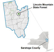 Lincoln Mountain State Forest locator map
