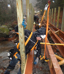 Staff working on bridge despite the bad weather.
