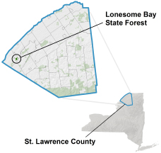 Lonesome Bay State Forest locator map