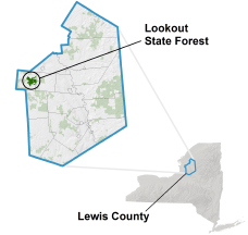 Lookout State Forest locator map
