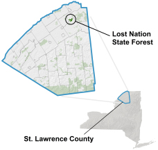 Lost Nation State Forest locator map