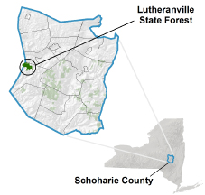 Lutheranville State Forest locator map