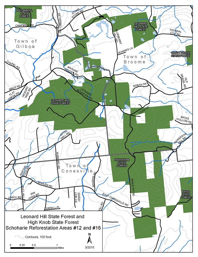 Leonard Hill and High Knob State Forests Map