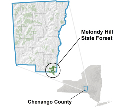 Melondy Hill State Forest locator map