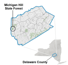 Michigan Hill State Forest locator map
