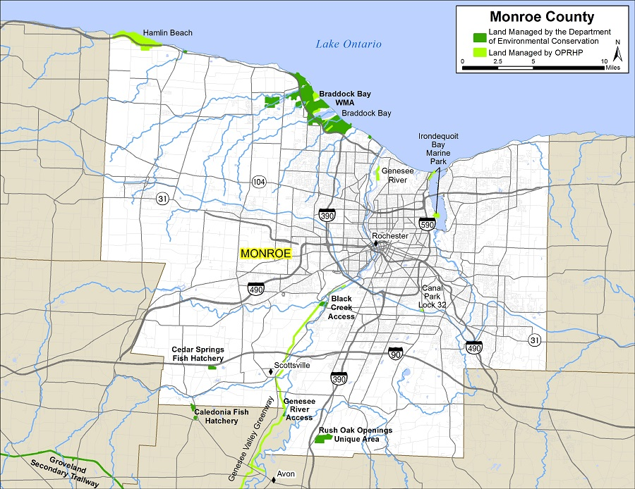 Map of Monroe County showing State owned lands open to public recreation