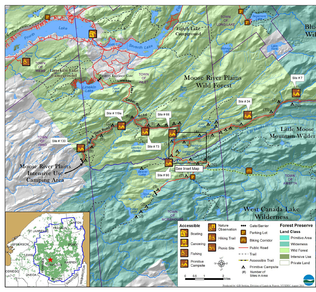 Map showing recreational amenities in the Moose River Plains Wild Forest