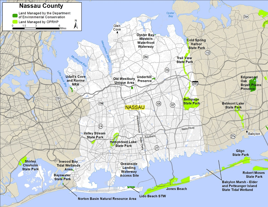 Map of Nassau County showing state-owned lands open for public recreation