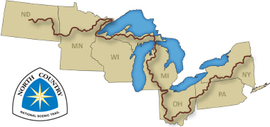 Map of 7 states in the Northern US from N. Dakoda to New York showing the North Country National Scenic Trail