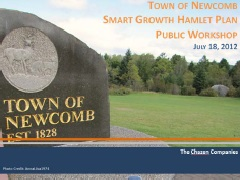 Granite Town of Newcomb sign in meadow excerpted from Smart Growth Hamlet Plan