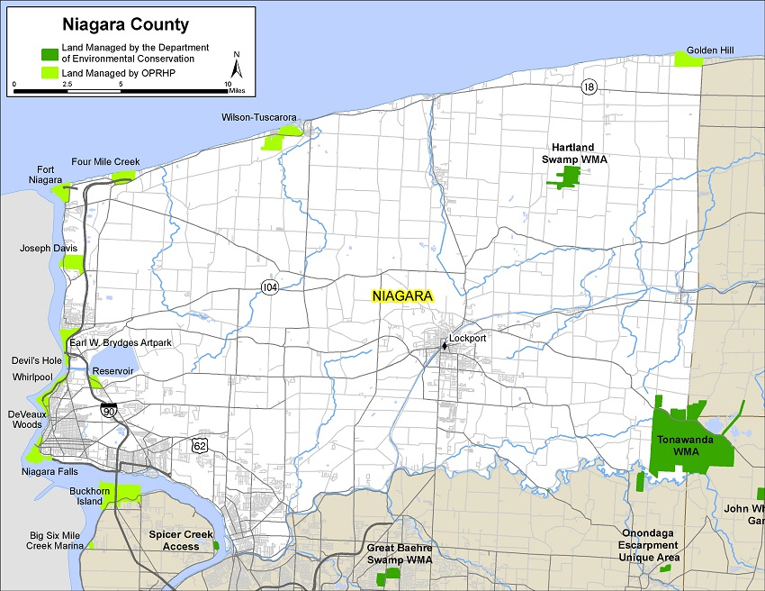 map of Niagara County showing state-owned lands open for public recreation
