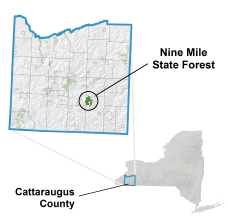 Nine Mile State Forest locator map