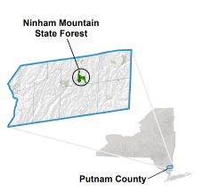 Ninham Mountain State Forest locator map