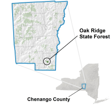 Oak Ridge State Forest locator map