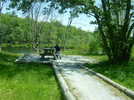 An accessible picnic area by a lake