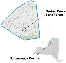 Orebed Creek State Forest locator map