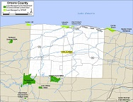 small map of Orleans County