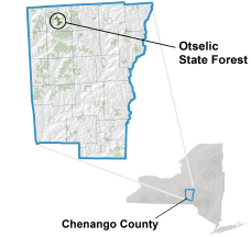 Otselic State Forest locator map
