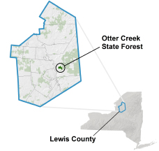 Otter Creek State Forest locator map