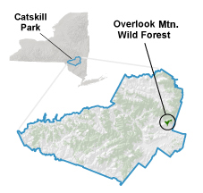 locator map showing Overlook Wild Forest in the eastern section of the Catskill Park