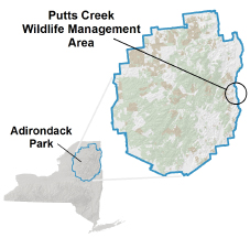 Putts Creek WMA Locator Map