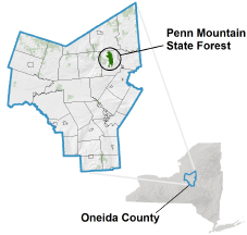 Penn Mountain State Forest locator map