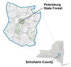 Petersburg State Forest locator map