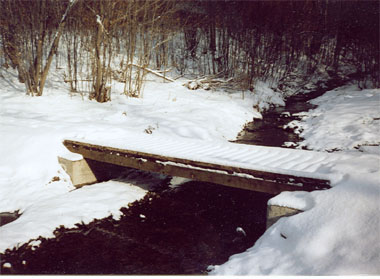 a photo of a snow-covered foot bridge at Phillips Creek State Forest