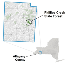 Phillips Creek State Forest locator map