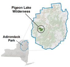 Pigeon Lake Wilderness locator map