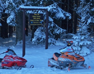 Snowmobiles on Pine Hill State Forest
